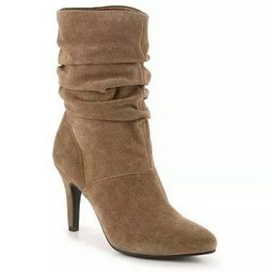Tan Suede Scrunch Ankle Boots